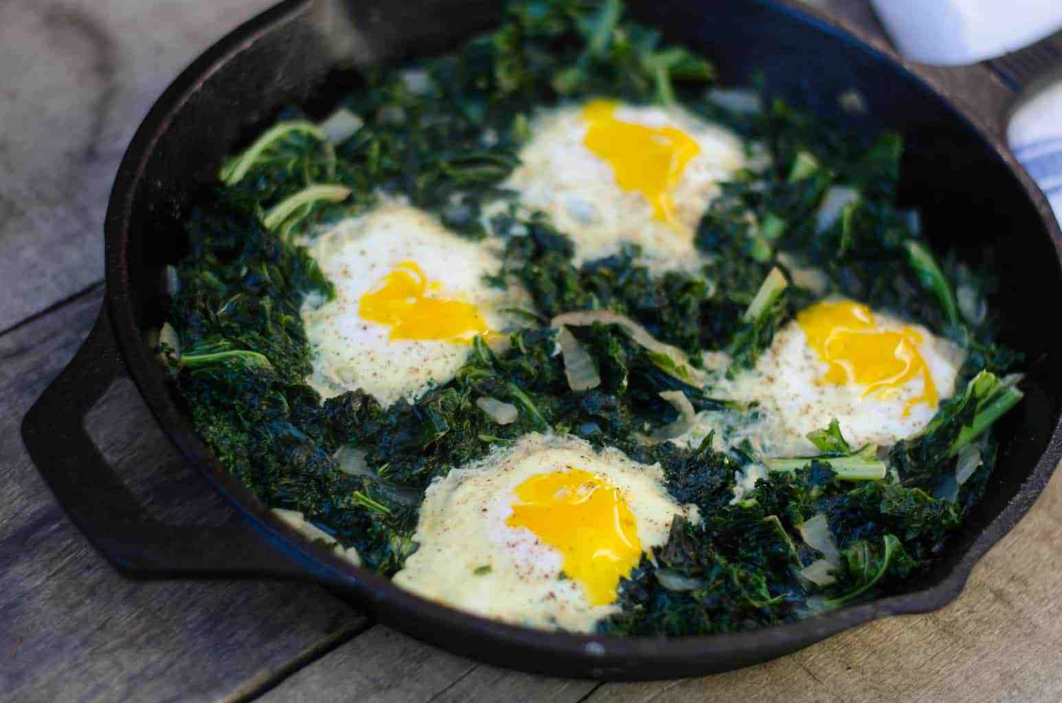 Spicy Eggs, Bacon and Kale