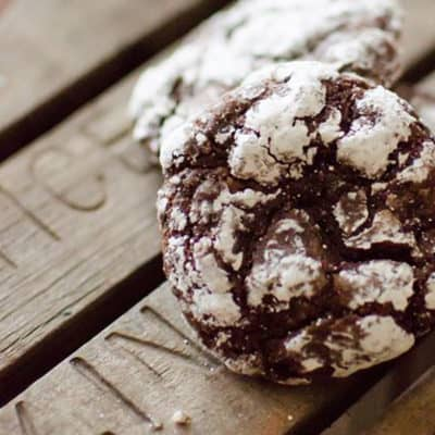 Peppermint Chocolate Crinkle Cookies