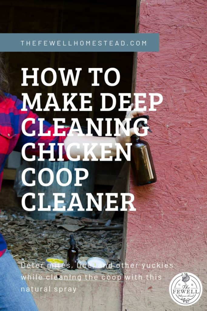 Cleaning a chicken coop—there's absolutely nothing glorious or romantic about it in the least bit. This is one of those farm chores that you don't take pictures of for instagram.  I wanted a spray that would not only help cleanse, but help deter pesky things like mites, lice, and insects. Not only that, but I wanted it to smell good and be aromatically pleasing for my chickens and myself.  Little did I know how easy it would be to make my own deep cleaning chicken coop cleaner. And now I'm going to teach you how to make it!