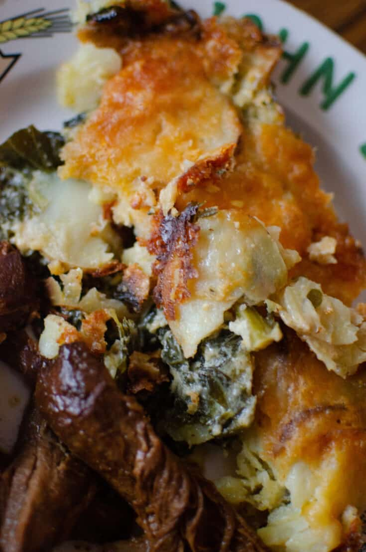 How to Make Creamy Potatoes Au Gratin with Collard Greens