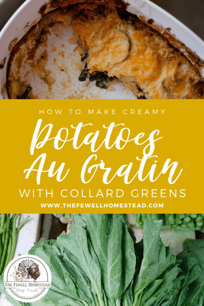 How to Make Creamy Potatoes Au Gratin with Collard Greens