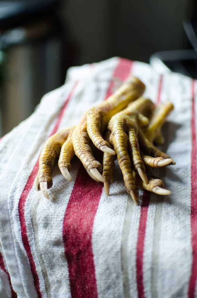 Chicken feet for bone broth, raising chickens for meat