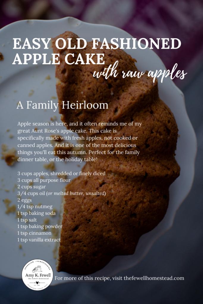 Easy Raw Apple Cake Recipe