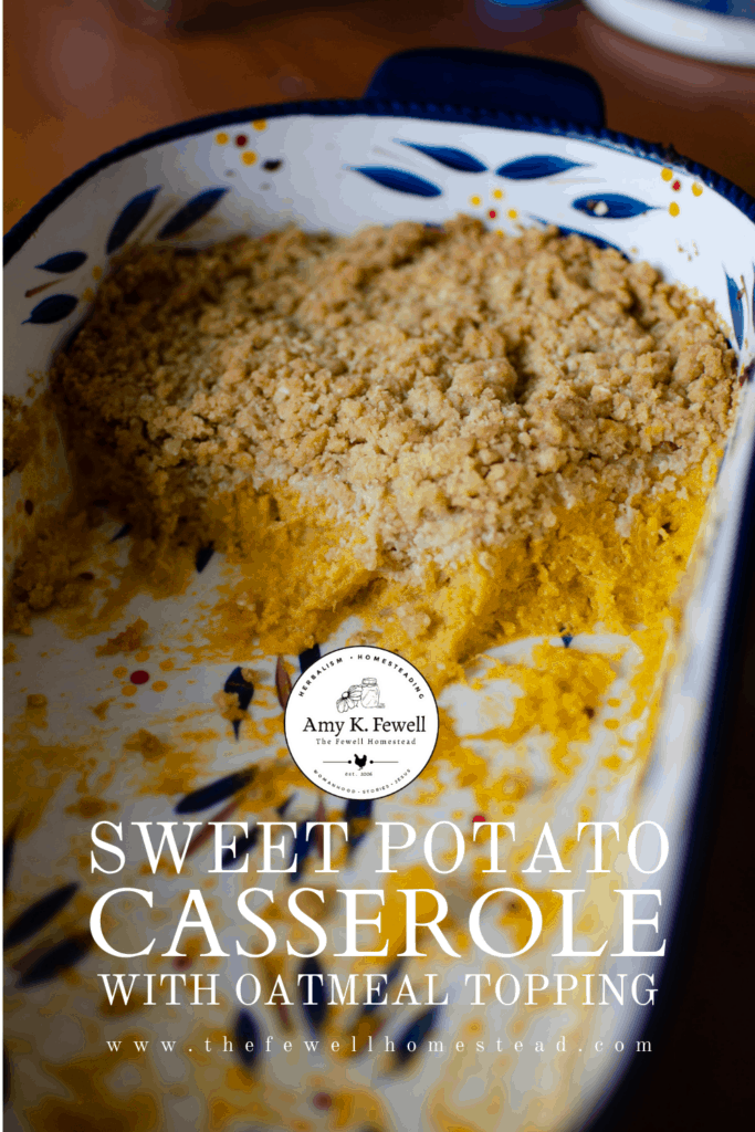 Sweet Potato Casserole with Oatmeal Topping Recipe Pin