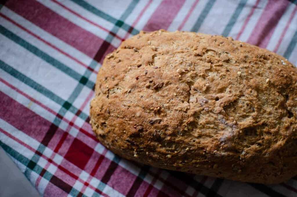 Seedy Bread. A Healthy Multigrain Bread Recipe. Rectangle loaf.
