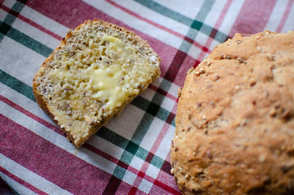 Seedy Bread, a Healthy Wholegrain Bread Recipe, bread with butter